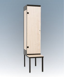 1-door clothes lockers with a seat